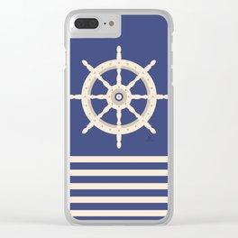 AFE Navy & Beige Helm Wheel Clear iPhone Case