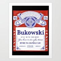 bukowski Art Prints featuring bukowski by Mathiole