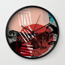 Just Passing Through Abstract Shapes in Red Palette Wall Clock