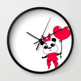 Pretty funny panda with a huge pink bow and a ballpanda Wall Clock