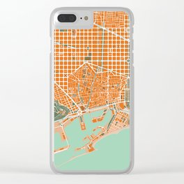Barcelona city map orange Clear iPhone Case