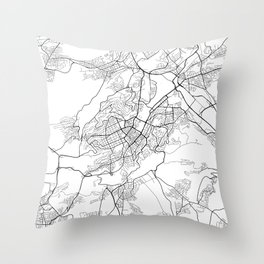 Stuttgart Map, Germany - Black and White Throw Pillow