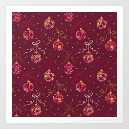 Christmas Balls Red Art Print