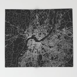 Louisville map Throw Blanket