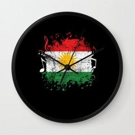 Kurdistan Flag Music Wall Clock