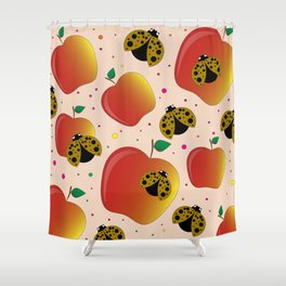 Apples and ladybugs Shower Curtain