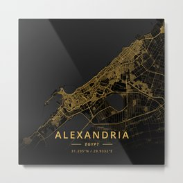 Alexandria, Egypt - Gold Metal Print