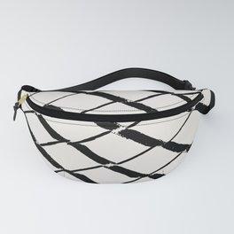 Modern Diamond Lattice Black on Light Gray Fanny Pack