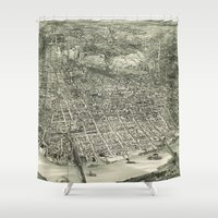 cincinnati Shower Curtains featuring Vintage Pictorial Map of Cincinnati (1900) by BravuraMedia