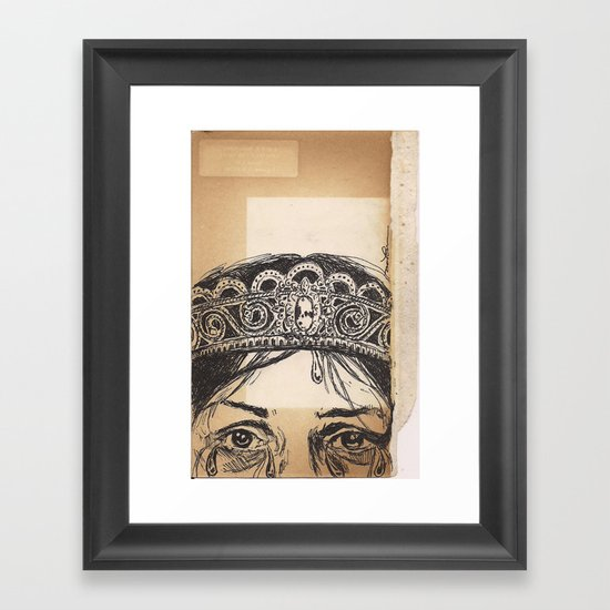 Woman tears and crown Framed Art Print