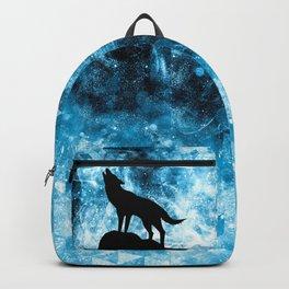 Howling Winter Wolf snowy blue smoke Backpack