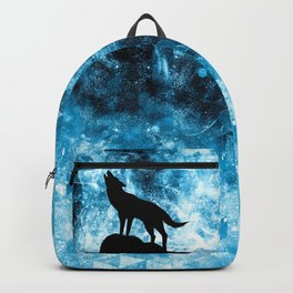 Howling Winter Wolf snowy blue smoke Backpack