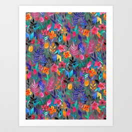 Popping Color Painted Floral on Grey Art Print