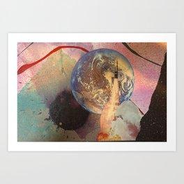 Earth Rocket Blast Off Mixed Media Art Print