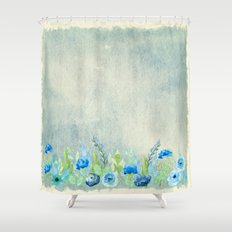 Blue flowers in a meadow- Floral watercolor illustration Shower Curtain