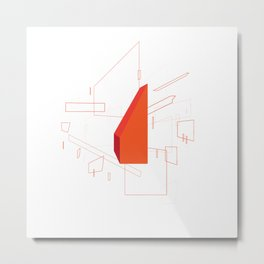 Blueprint #2 (red) Metal Print