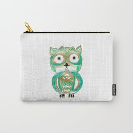 Owl Fun #4 #mint #green #gold #drawing #decor #art #society6 Carry-All Pouch