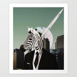 Zebra Man - Collage Art Work - The Modern New Yorker Fun Art Art Print