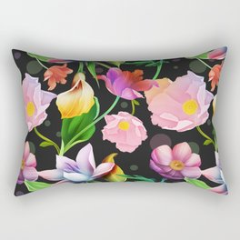 Bold & Bright Colored Tropical Flowers on Black Background Rectangular Pillow