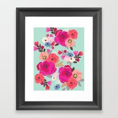 Sweet Pea Floral Aqua Multi color Framed Art Print