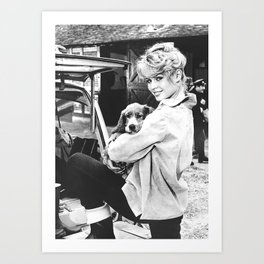 Brigitte Bardot and Dog Retro Vintage Art Art Print