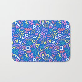 Bright Hand-Drawn 90s Pattern Bath Mat