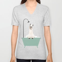 Llama Enjoying Bubble Bath Unisex V-Neck