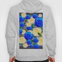 CHARCOAL GREY DECORATIVE WHITE & BLUE ROSE GARDEN Hoody