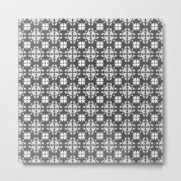 Grey & White Floral Tile Pattern Metal Print
