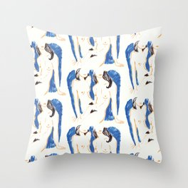Nudes in Gold and Blue Throw Pillow