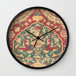 Peonies Kashan II // 16th Century Distressed Colorful Red Tan Light Blue Ornate Accent Rug Pattern Wall Clock