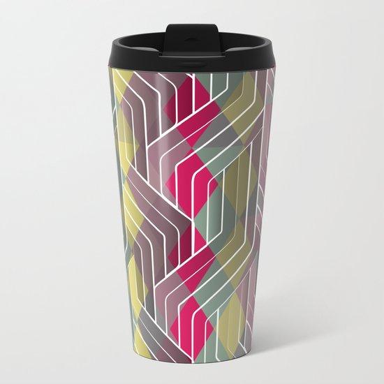 Decorative Pattern Triangles Metal Travel Mug