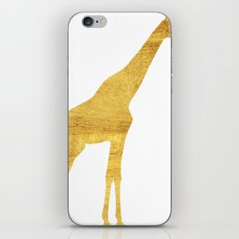 Giraffe Silhouette in Gold iPhone Skin