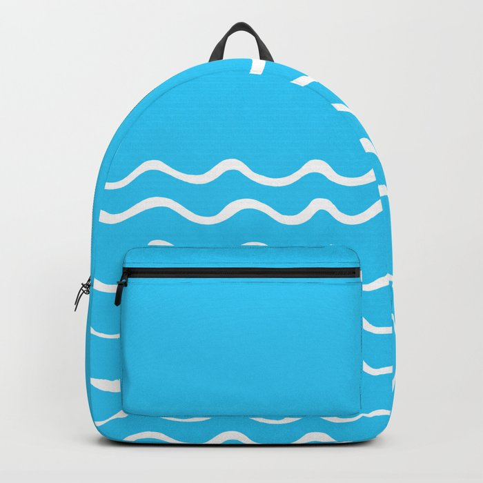 Simple aqua and white handrawn waves 1 - for your summer on #Society6 Backpack