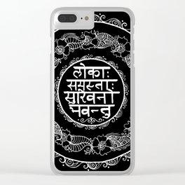Square - Mandala - Mantra - Lokāḥ samastāḥ sukhino bhavantu - Black White Clear iPhone Case