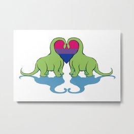 Bi Pride - Dino Love Metal Print