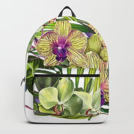 Bouquet, Orchid, Bud, Leaf Clipart, watercolor, handpainted, floral, flower, design, style, troical Backpack