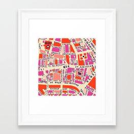 paris map pink Framed Art Print