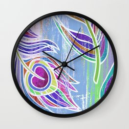 Lilac and blue peacock feathers print Wall Clock