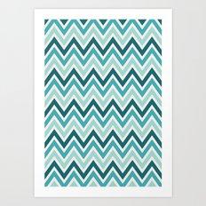 Indie Spice: Turquoise Chevron Art Print
