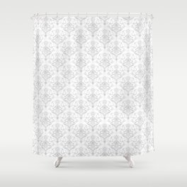Gray Damask Pattern Shower Curtain