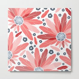 South Western Feather Fans and Flowers in Modern Red Coral and Slate Blue Gray Metal Print