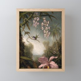 Orchids And Spray Orchids With Hummingbird 1890 By Martin Johnson Heade | Reproduction Framed Mini Art Print