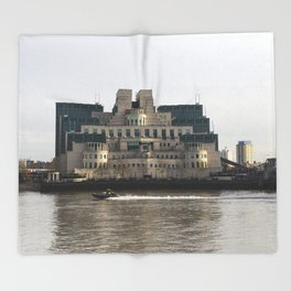 SIS Secret Service Building London And Rib Boat Throw Blanket