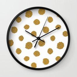 Golden touch III- Gold glitter effect polka dot pattern Wall Clock