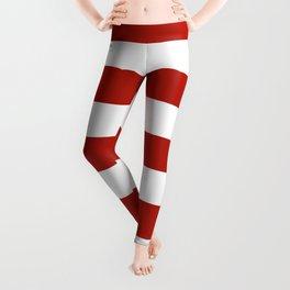 Tomato sauce - solid color - white stripes pattern Leggings