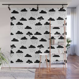 Clouds linocut black and white printmaking pattern black and white Wall Mural