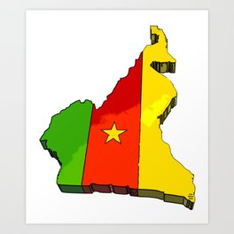 Cameroon Map with Cameroonian Flag Art Print