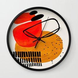 Mid Century Modern Abstract Colorful Art Yellow Ball Orange Shapes Orbit Black Pattern Wall Clock