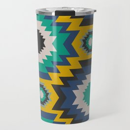 Ethnic in blue, green and yellow Travel Mug